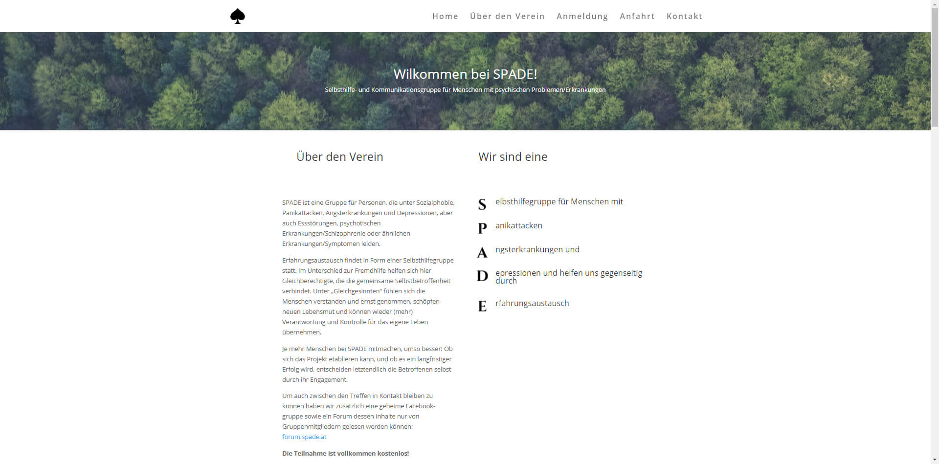 Free webdesign and hosting for non-profit organisation spade.at